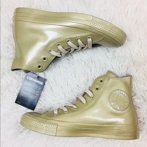 Converse All Star Metallic Rubber Beige Hi Tops